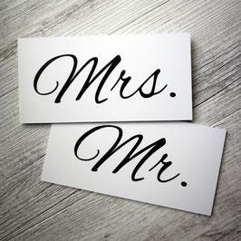 """Schilder """"Mrs. & Mr."""""""