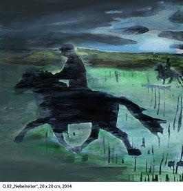 Q 02 Nebelreiter,  Pferde - Kunstdruck