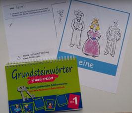 Grundsteinwörter, Teil 1 mit Arbeitsblättern, schwarz-weiß und Wort-Bild-Karten (groß)