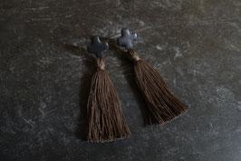 cross ceramic tassel pierce(black)