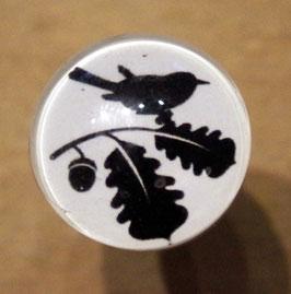 bouton de commode oiseaux en noir et blanc