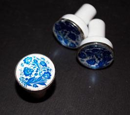 bouton de commode  fleurs bleues n°1