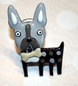 bouton de commode bulldog (base chromée)