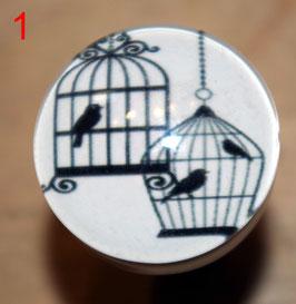 boutons de commode oiseaux avec cage