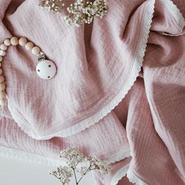 Babydecke aus Musselin in altrosa