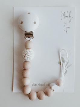 Schnullerkette in weiß mit Herz