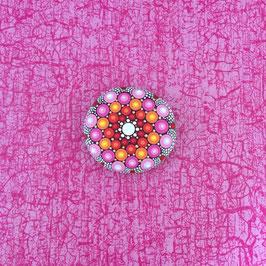 Mandala-Stein Himbeer-Rot groß