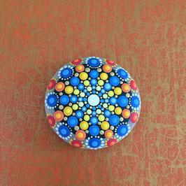 Mandala-Stein Seestern Gelb-Blau