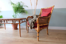 -ON HOLD- Fauteuil Faux Bamboo met rode bekleding  |  19.960.M