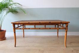 Vintage faux bamboo salontafel met gevlochten blad  |  19.961.M