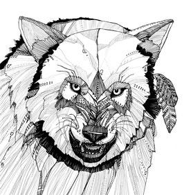 Kunstdruck Wolf