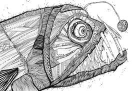 Kunstdruck Tiefseefisch