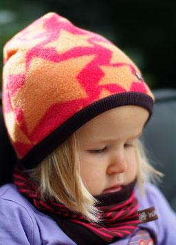 Mütze Polarfleece Sterne Orange