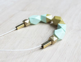 "geometric necklace ""mint-gold"""