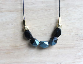 "geometric necklace ""black-petrol"""