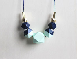 "geometric necklace ""darkblue-mint"""