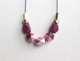 "geometric necklace ""red berry"""