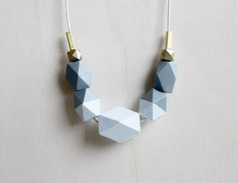 "geometric necklace ""gray-iceblue"""