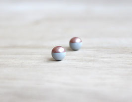 "wooden stud earrings ""gray-rosé"""