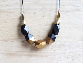 "geometric necklace ""brown-bronzegold"""