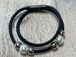 Glattleder schwarz mit silver und Perlen Beads mit schwarzem Edelstahlverschluss - Länge 38cm