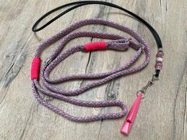 SET: Retrieverleine rosa grau Pfeifenband echtes Leder schwarz mit Flamingo Bead UNIKAT Pfeife rosa 211.5