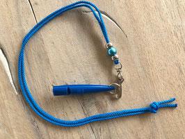 Reepschnur blau mit silber/blauen Beads Pfeife blau 211.5