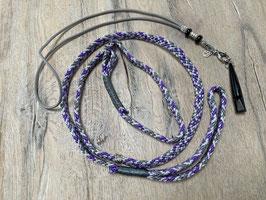 SET: Retrieverleine lila puple grau Pfeifenband echtes Leder grau Pfeife schwarz 211.5 Klimim Herz