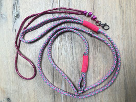 SET: Retrieverleine pink/silbergrau Pfeifenband Damasco Leder pink