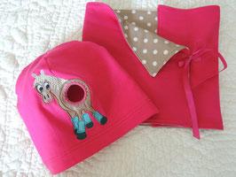 Pferdeschwanz Mütze & Loop pink/beige getupft