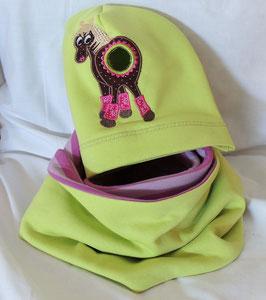 Pferdeschwanzmütze & Loop kiwi/rosa
