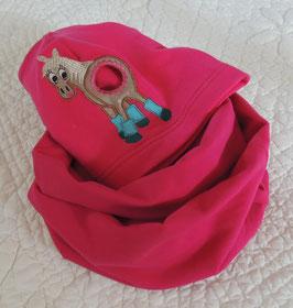 Pferdeschwanz Mütze & Loop pink