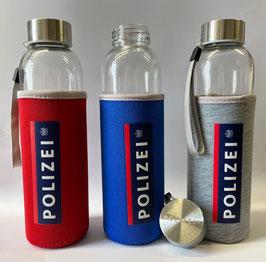 Trinkflasche aus Glas im Polizeidesign
