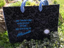"""Trachten-Shopper """"... Der Teufel trägt nicht immer Prada..."""" /schwarz, Ornamente"""