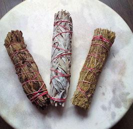 3 große Räuchersticks, 1x White Sage, 1x Yerba Santa, 1x Desert Sage