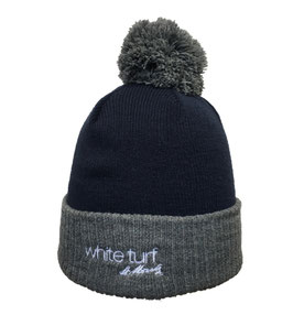 White Turf PomPom Knitted Hat