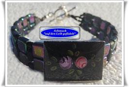 9) Armband mit edlem Emaille-Knopf