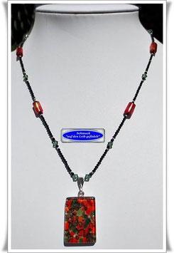 1996. feine Spinell-Kette mit schönem Muranoglas-Anhänger