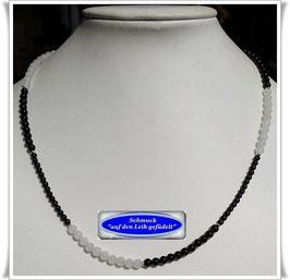 1707. schwarz-weiße Onyx-Jade-Kette