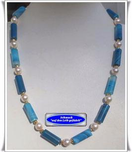 958. blaue Bandachat-Kette Set