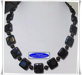 504. schwarz-bunte Glasperlenkette