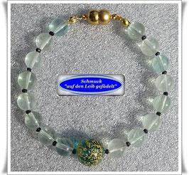 210) Fluorit-Armband mit Muranoglas-Perle