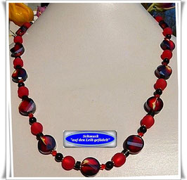 123. rote Kristallglas-Kette