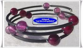 171) Memory Wire-Armband mit Fluorit + Achat