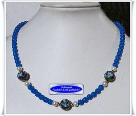 1857. böhmische Opalglas-Kette mit Tensha-Perlen