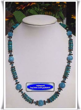 1078. Seraphinit-Blauquarz-Kette Set