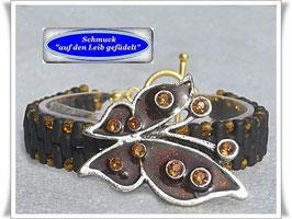 30) Glasperlen-Armband mit Schmetterling-Knopf