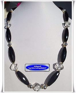 220. Onyx-Bergkristall-Kette