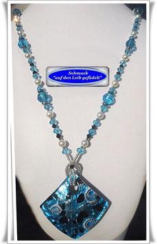 654. blaue Muranoglas-Kette