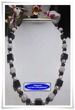 1293. Bergkristall-Achat-Onyx-Kette